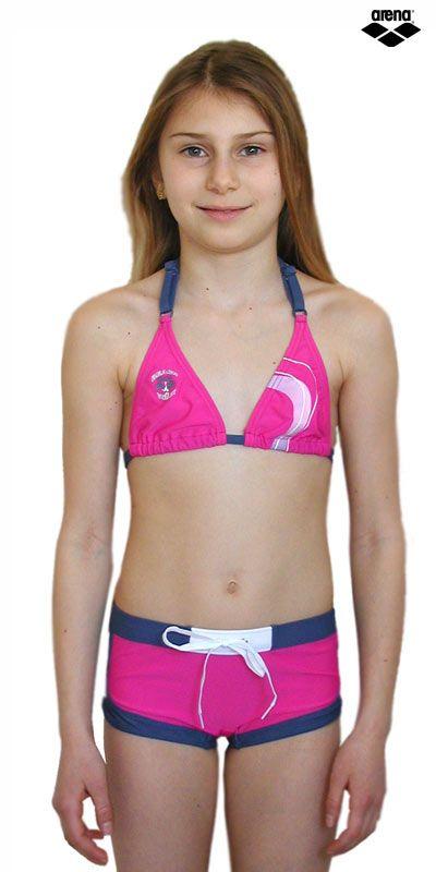 Bikini mit Hotpant für Mädchen Pink und Grau